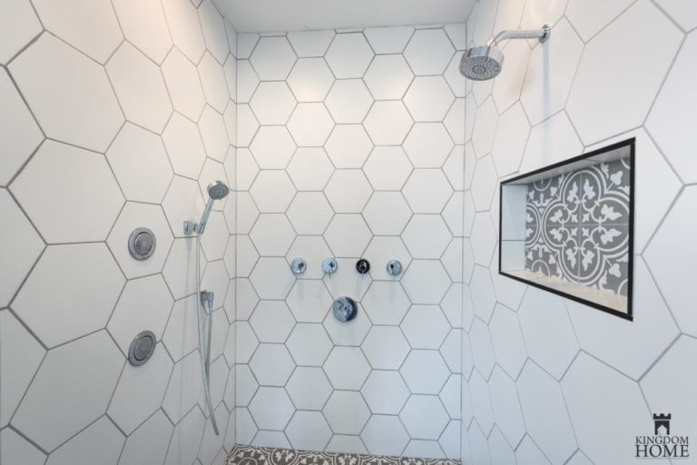 tiled shower in upgraded house