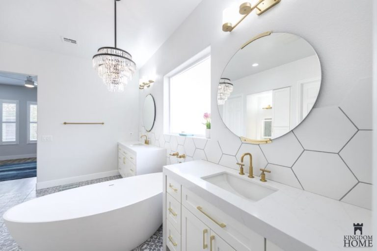 all white bathroom in upgraded house