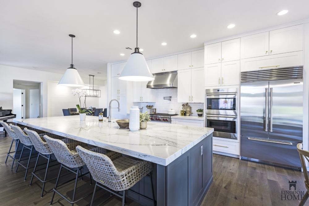 renovated home with white and gray kitchen