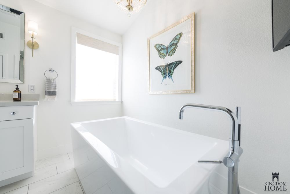 freestanding tub in renovated bathroom