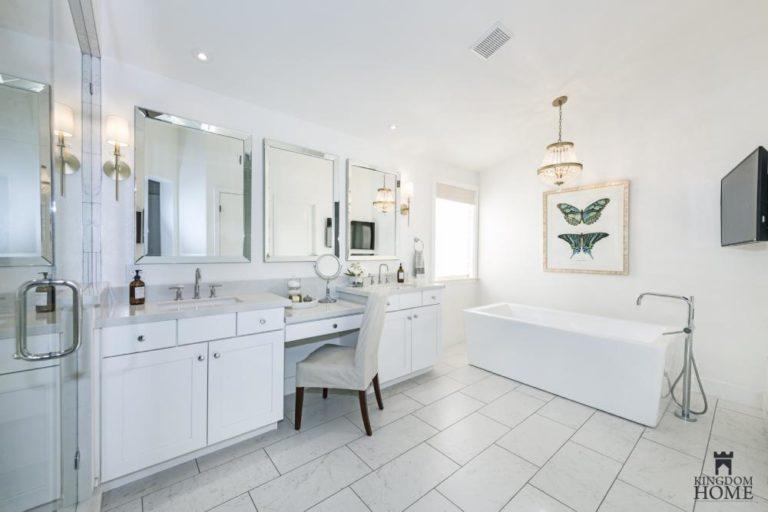 all white bathroom in renovated home