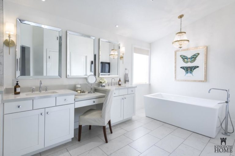 master bathroom with vanity in renovated home