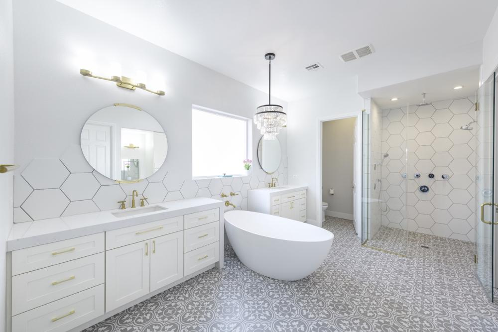 all white master bathroom