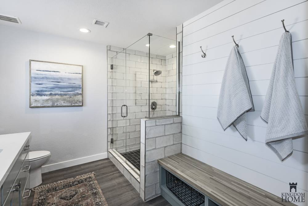 shower with mudroom bench, remodeled home in Las Vegas